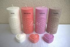 Sviečky so symbolom Kvet života v 4 farbách a srdiečka s ružičkou