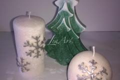 Vianočný stromček, guľa a valec s vločkou